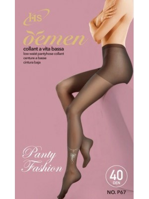 [P67] Collants 40 deniers avec motif argenté