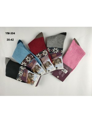 [YM-304] Chaussettes polaire à motifs flocons sur bande