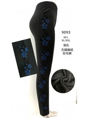 [9093] Leggings polaire avec motif fleurs