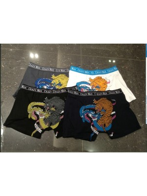 [3529] Boxers à imprimé tigre et dragon sur les fesses