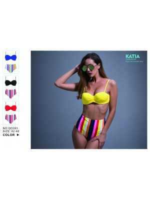 [393] Bikini rayures multicolores avec culotte haute