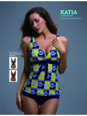 [3145] Maillot tankini imprimé chaine avec culotte