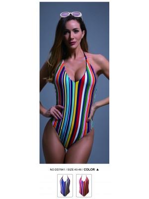 [7841] Maillot 1 pièce à rayures verticales multicolores