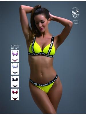 [7850] Bikini uni à banderoles