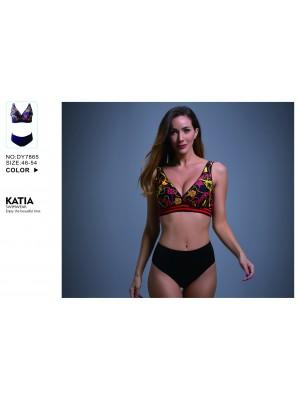 [7865] Bikini imprimé chaine avec culotte haute