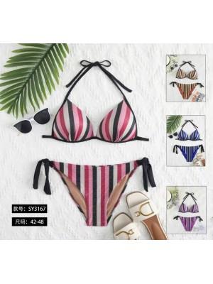 [3167] Bikini à rayures verticales multicolores
