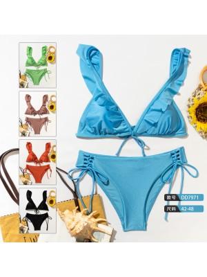 [7971] Bikini femme uni avec effets paillettes