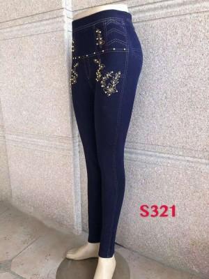 [S321] Leggings à imprimé jean et fleurs